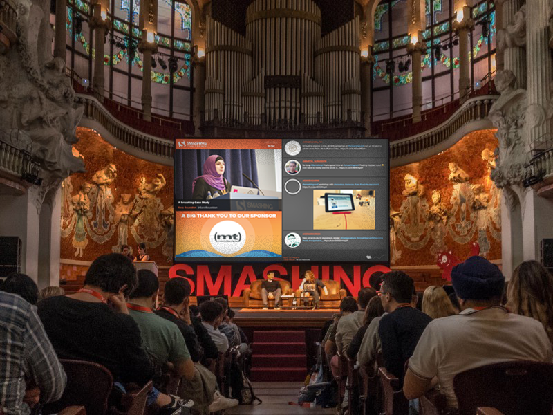 At Smashing Conference 2016, Wallery was used to display the agenda and the social media chatter from the visitors.<br /> Big thanks to our friends at Pingdom for this photo!